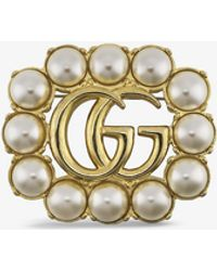 Gucci GG Marmont Gold-tone And Faux-pearl Brooch - Metallic