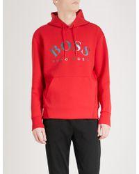 BOSS Green Logo-print Jersey Hoody - Red