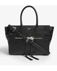 Zadig & Voltaire Candide Medium Zip Bag In Black Smooth Calfskin