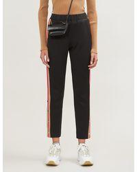 Maje Postiche Contrast-stripe Stretch-jersey Pants - Black