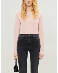 Reformation Round-neck Cashmere And Wool-blend Sweater - Pink