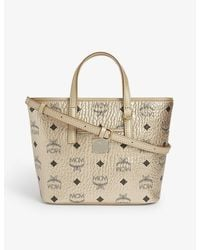 MCM Anya Visetos Coated Canvas Shopper - Metallic