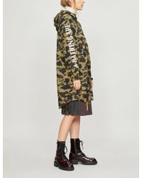 A Bathing Ape Logo And Camouflage-print Shell Jacket - Green