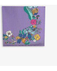 Eton of Sweden Floral And Polka Dot Print Silk Scarf - Purple