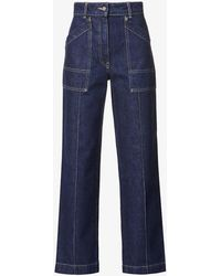 Moncler Cropped Straight-leg High-rise Jeans - Blue
