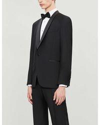 Oscar Jacobson Mens Black Filip Regular-fit Wool Tuxedo Blazer 40