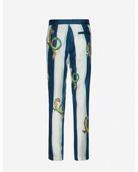 CASABLANCA Graphic-print Slim-fit Cotton Pants - Blue