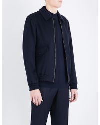 Gieves & Hawkes Collared Wool-blend Bomber Jacket - Blue
