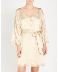 Nk Imode - Devon Gimme Love Stretch-lace And Silk-satin Robe - Lyst