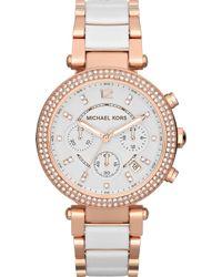 Michael Kors - Mk5774 Parker Rose Gold-plated Watch - Lyst