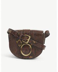 Sessun Tessao Mini Python-embossed Leather Cross-body Bag - Brown