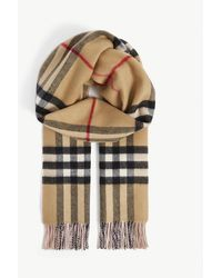 Burberry Giant Check Tasselled-trim Cashmere Scarf - Multicolour