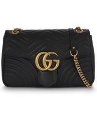 Gucci Black GG Marmont Small Matelassé Leather Shoulder Bag