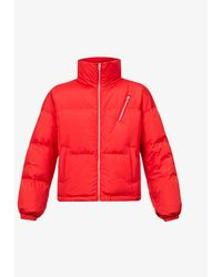 Benetton Quilted Duck Down-filled Shell Hooded Puffer Jacket - Red