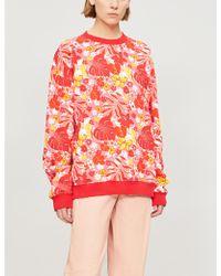 Tropical Floral print Cotton blend Sweatshirt Red