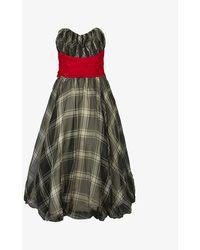 Beyond Retro Pre-loved 1950s Checked Chiffon Midi Dress - Grey