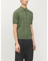 Canali Textured Cotton-knit Polo Shirt - Green