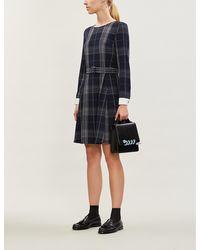 Claudie Pierlot Contrast-cuff Tartan Stretch-crepe Dress - Black