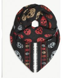 Alexander McQueen - Skull Print Square Scarf - Lyst