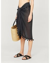 Melissa Odabash Pareo Tassel-trimmed Cotton And Silk-blend Sarong - Black