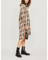 Maje - Checked Twill Shirt Dress - Lyst