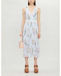 Ted Baker Floral-print Crepe Midi Dress - Blue