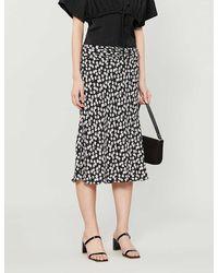 Reformation Matilda Floral-print High-waisted Crepe Midi Skirt - Black