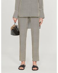 JOSEPH Hurley Mid-rise Silk-satin Trousers - Grey