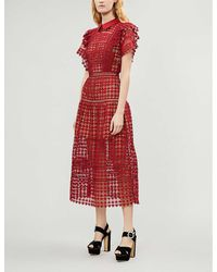 Self-Portrait Heart-shaped Guipure Lace Midi Dress - Red