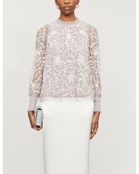 Needle & Thread Whitehorn Floral-embroidered Sequinned Tulle Top - Multicolour
