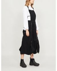 Renli Su Piped Cotton-blend Dungaree Dress - Black