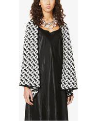 Diane von Furstenberg Taya Geometric-pattern Wool Cardigan - Black