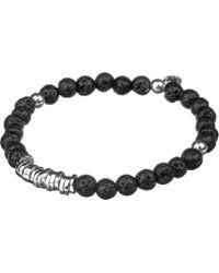Tateossian Mens Black Silver Disc Beaded Bracelet