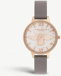Olivia Burton - Ob16gd06 Celestial 3d Bee Rose-gold Plated And Leather Demi Dial Watch - Lyst
