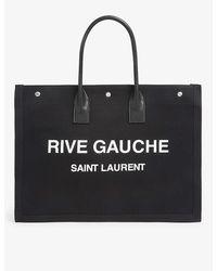 Saint Laurent Noe Cabas Rive Gauche Branded Canvas Tote Bag - Black