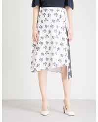 St. John - Floral-print Asymmetric Stretch-silk Skirt - Lyst