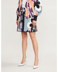 Emilio Pucci - Signature Print Quilted Stretch-silk-satin Skirt - Lyst
