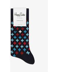 Happy Socks Plus Print Combed Cotton Socks - Blue