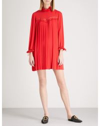 Claudie Pierlot - Rivage Pleated Lace-panelled Crepe Mini Dress - Lyst