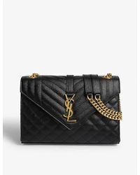 Saint Laurent Monogram Quilted Leather Satchel - Black