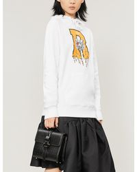 ROKH Graphic-print Cotton And Cashmere-blend Hoody - White