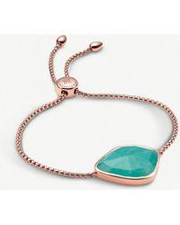 Monica Vinader - Siren Nugget 18ct Rose-gold Vermeil And Amazonite Bracelet - Lyst