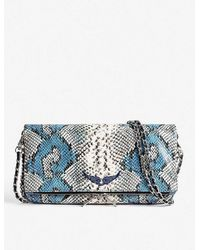 Zadig & Voltaire Rock Snakeskin-print Leather Clutch - Blue