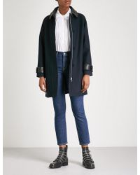 Claudie Pierlot - Gauthier Leather-collar Woven-twill Coat - Lyst