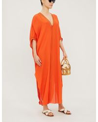 Lazul Livia Cotton And Silk-blend Kaftan - Orange