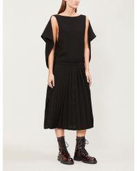 Limi Feu - Cape-detail Pleated Crepe Dress - Lyst