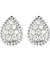 Boucheron Women's White Serpent Bohème 18ct White-gold And Diamond Stud Earrings