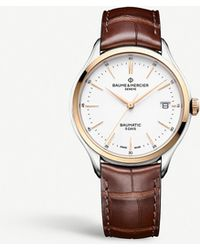 Baume & Mercier Clifton Stainless Steel And Leather Watch - Metallic