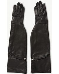 Rick Owens Leather Gloves With Pockets - Black