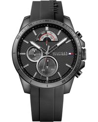 Tommy Hilfiger - 1791352 Black Stainless Steel And Rubber Watch - Lyst